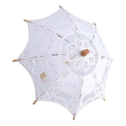 Yosoo Spitze Regenschirm Vintage Hochzeit Spitze Stickerei Reine Baumwolle Dame Braut Hochzeit Sonnenschirm Dekoration Foto Requisiten(Small-weiß) - 8