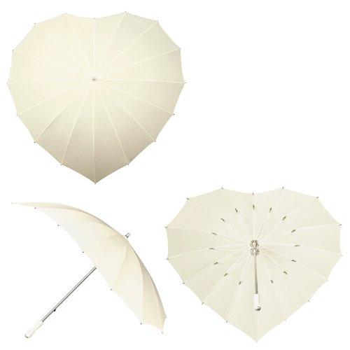 Herz Regenschirm mit UV-Schutz - gebrochenes Weiß