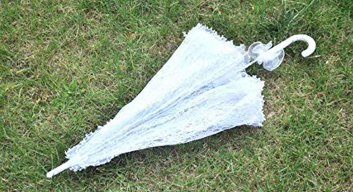 Zerodis Sonnenschirm Spitze Hochzeit Braut Weiß Dame Kostüm Zubehör Party Tanzen Fotografie Prop Dekoration - 5