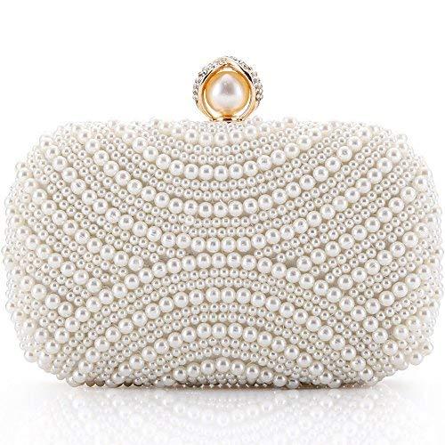 Damen Clutch Perlen Weiß für Hochzeit