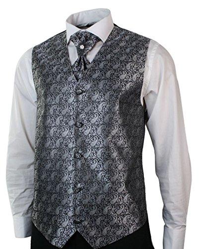 Herrenanzug Smoking 5 Teilig Schwarz Hose Weste Sakko Krawatte Und Handtuch Rund Schal Reverse - 2