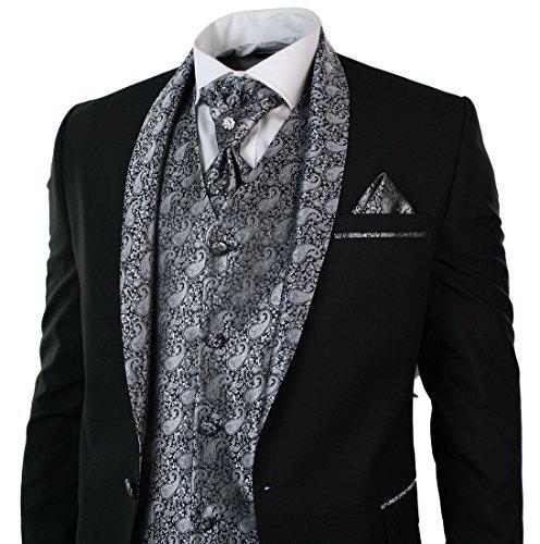 Herrenanzug Smoking 5 Teilig Schwarz Hose Weste Sakko Krawatte Und Handtuch Rund Schal Reverse - 3