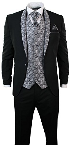 Herrenanzug Smoking 5 Teilig Schwarz Hose Weste Sakko Krawatte Und Handtuch Rund Schal Reverse - 5