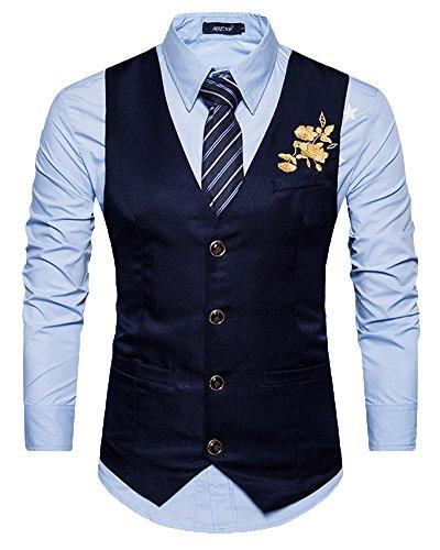 Herren Anzugweste, V-Ausschnitt, Blumen Stickerei, Marine