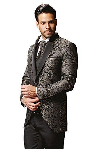 Herren Anzug - 8 teilig - Schwarz Champagner Designer Hochzeitsanzug TOP ANGEBOT NEU PC_19 (50) - 2