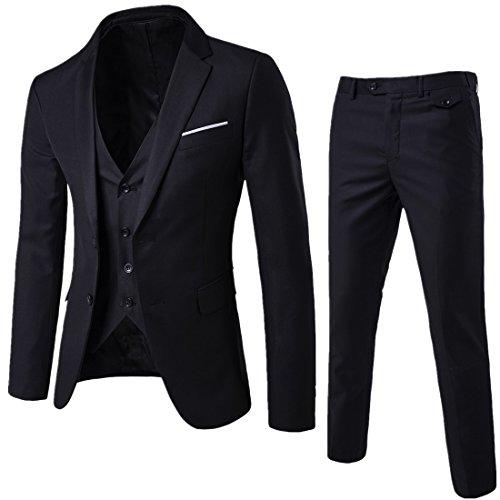 Herren Anzug 3-Teilig, Slim Fit, Schwarz
