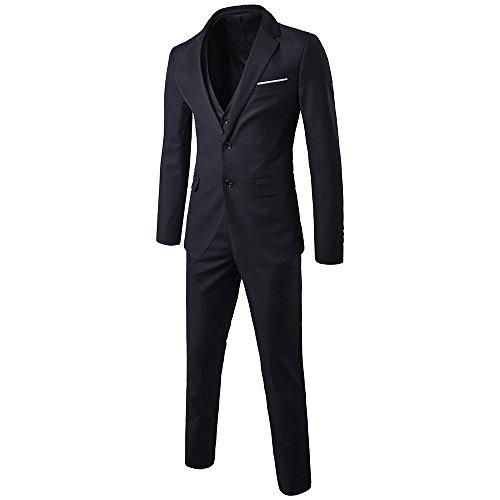 Herren Anzug 3 Teilig Slim Fit 2-Knopf mit Weste Sakko Anzughose Business Smoking Hochzeitsanzug von Harrms,Schwarz,EU 54 - 2