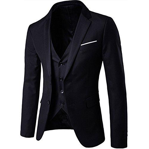 Herren Anzug 3 Teilig Slim Fit 2-Knopf mit Weste Sakko Anzughose Business Smoking Hochzeitsanzug von Harrms,Schwarz,EU 54 - 3