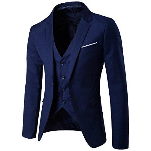 Sunshey Herren Anzug 3-Teilig Slim Fit Anzugsjacke Anzugsweste Anzugshose ein knopf Muster 9 Farben - 2