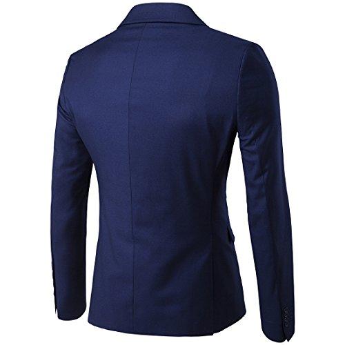 Sunshey Herren Anzug 3-Teilig Slim Fit Anzugsjacke Anzugsweste Anzugshose ein knopf Muster 9 Farben - 4