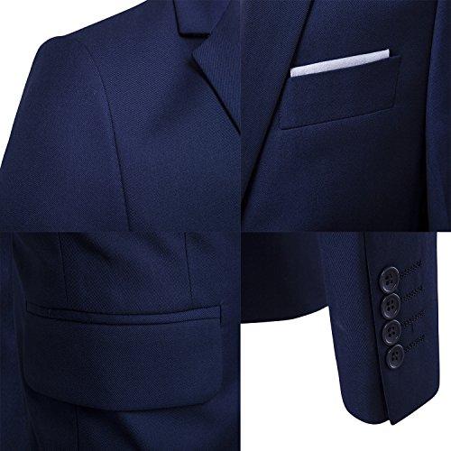 Sunshey Herren Anzug 3-Teilig Slim Fit Anzugsjacke Anzugsweste Anzugshose ein knopf Muster 9 Farben - 6