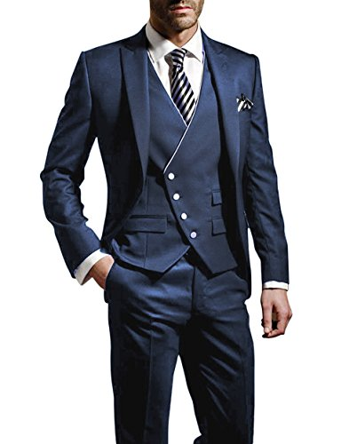 Suit Me Herren 3-Teiliger Anzug, Slim Fit, Blau