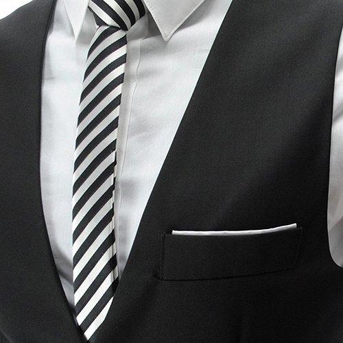YaoDgFa Herren Weste Anzug + Fliege Smoking Sakko Anzugweste Herrenweste Herrenanzug slim fit Hochzeit feierlich Elegant- Gr. X-Large, Schwarz - 2