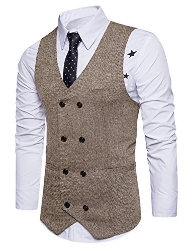 Boom Fashion Herren doppelt breasted Anzugweste, Slim Fit, Braun
