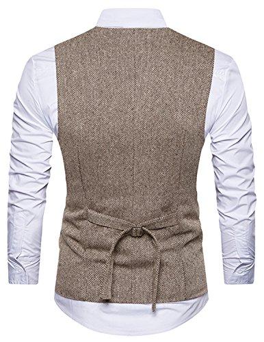 Boom Fashion Herren doppelt breasted Anzugweste Freizeit Business Casual Slim Fit Weste V-Ausschnitt Blazer- Gr.XXL, Braun 1 - 2