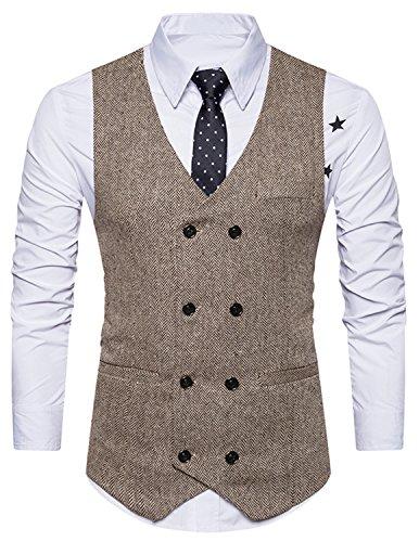 Boom Fashion Herren doppelt breasted Anzugweste Freizeit Business Casual Slim Fit Weste V-Ausschnitt Blazer- Gr.XXL, Braun 1 - 3