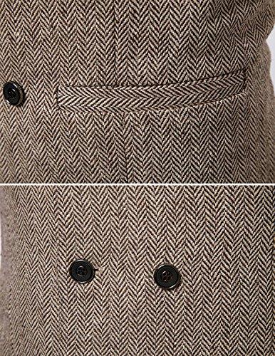 Boom Fashion Herren doppelt breasted Anzugweste Freizeit Business Casual Slim Fit Weste V-Ausschnitt Blazer- Gr.XXL, Braun 1 - 5