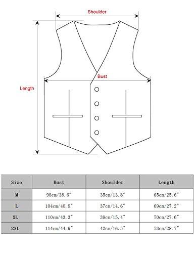 Boom Fashion Herren doppelt breasted Anzugweste Freizeit Business Casual Slim Fit Weste V-Ausschnitt Blazer- Gr.XXL, Braun 1 - 6