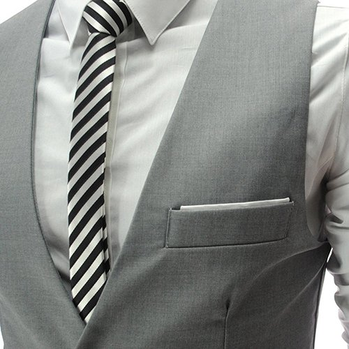 YaoDgFa Herren Weste Anzug + Fliege Smoking Sakko Anzugweste Herrenweste Herrenanzug slim fit Hochzeit feierlich Elegant- Gr. M, Grau - 2