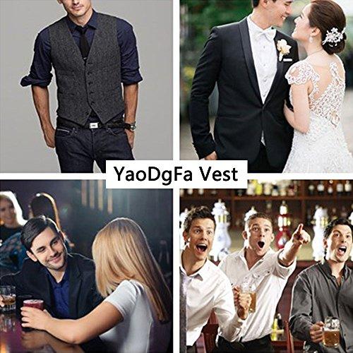 YaoDgFa Herren Weste Anzug + Fliege Smoking Sakko Anzugweste Herrenweste Herrenanzug slim fit Hochzeit feierlich Elegant- Gr. M, Grau - 5