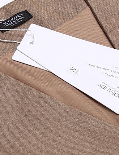 Herren Einreiher mit 5 Knöpfen Weste Anzugweste Businessweste Anzug V-Ausschnit Geschäftsweste Business Hochzeit Vintage Kurzweste Slim fit Khaki L - 4
