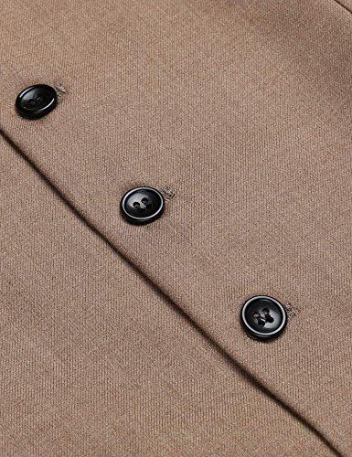 Herren Einreiher mit 5 Knöpfen Weste Anzugweste Businessweste Anzug V-Ausschnit Geschäftsweste Business Hochzeit Vintage Kurzweste Slim fit Khaki L - 5