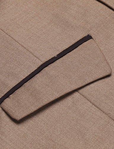 Herren Einreiher mit 5 Knöpfen Weste Anzugweste Businessweste Anzug V-Ausschnit Geschäftsweste Business Hochzeit Vintage Kurzweste Slim fit Khaki L - 6