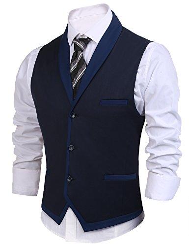 Burlady Herren V-Ausschnitt Ärmellose Westen Slim Fit Weste Anzug Business Anzugweste (EU 52(Hersteller:L), A-Dunkel Blau) - 2