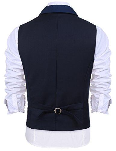 Burlady Herren V-Ausschnitt Ärmellose Westen Slim Fit Weste Anzug Business Anzugweste (EU 52(Hersteller:L), A-Dunkel Blau) - 3