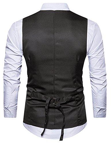 Leisure Herren Anzugweste Gentleman Basic Mode Einreiher vier Knöpfe 2 in 1 Weste,Schwarz,M - 2