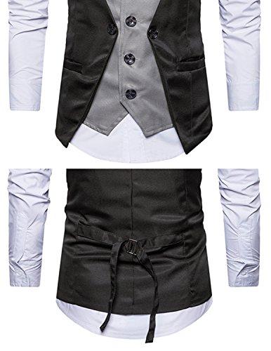 Leisure Herren Anzugweste Gentleman Basic Mode Einreiher vier Knöpfe 2 in 1 Weste,Schwarz,M - 4