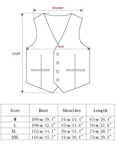 Leisure Herren Anzugweste Gentleman Basic Mode Einreiher vier Knöpfe 2 in 1 Weste,Schwarz,M - 5