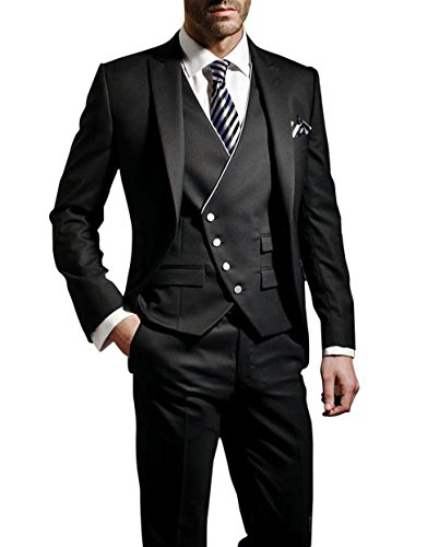 Suit Me Herren 3-Teiliger Anzug Slim Fit, Schwarz