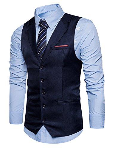 Herren Business Anzugweste mit Revers Blau