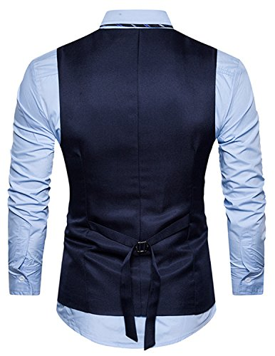 YCHENG Herren Business Stilvoll Anzugweste Weste Slim Fit mit Revers Blau XX-Large - 2