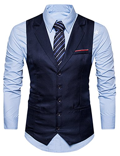 YCHENG Herren Business Stilvoll Anzugweste Weste Slim Fit mit Revers Blau XX-Large - 3
