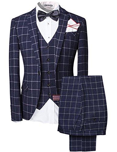 Herren 5-Teiliger Anzug, kariert in blau