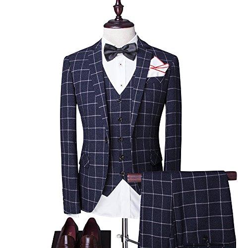 Modisch Slim Fit Schnitt Herren 5-Teilig Anzug Kariert Design in blau mit Weste + Krawatte+ Handtuch+Fliege Hochzeit Party - 2