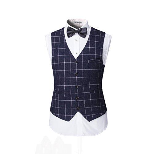 Modisch Slim Fit Schnitt Herren 5-Teilig Anzug Kariert Design in blau mit Weste + Krawatte+ Handtuch+Fliege Hochzeit Party - 3