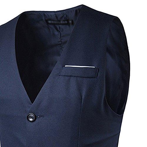 JOLIME Herren Anzug Weste Slim Bügelleicht 4 Knopf Smoking FüR Hochzeit Fest Business Casual marineblau XL - 3
