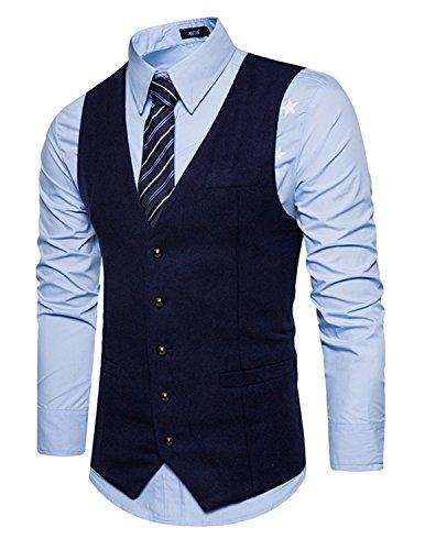 Leisure Herren Anzugweste, Einreiher, Blau