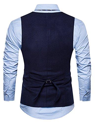 Leisure Herren Anzugweste Gentleman Basic Mode Einreiher Fünf Knöpfe Weste,Blau 1,M - 2