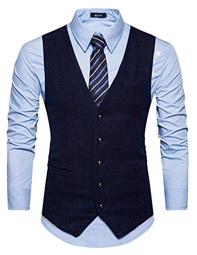 Leisure Herren Anzugweste Gentleman Basic Mode Einreiher Fünf Knöpfe Weste,Blau 1,M - 3