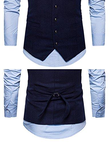 Leisure Herren Anzugweste Gentleman Basic Mode Einreiher Fünf Knöpfe Weste,Blau 1,M - 4