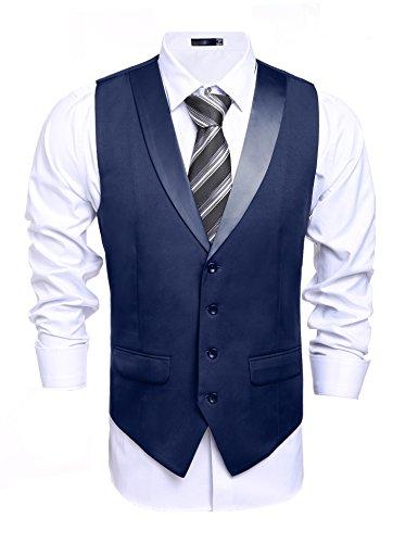 Herren Anzugweste, V-Ausschnitt, Vintage, Marineblau