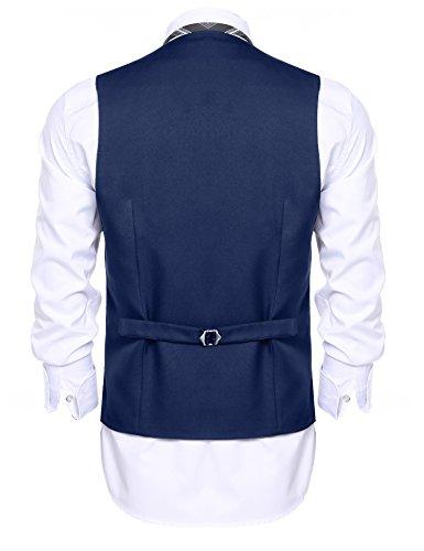 cooshional Herren Weste Anzugweste Geschäftsweste V-Ausschnitt Business Hochzeit Vintage L (EU 38) Marineblau - 3