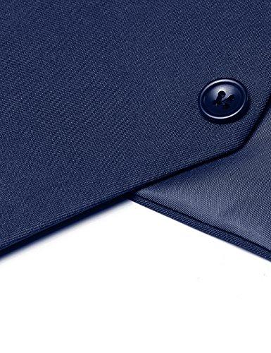 cooshional Herren Weste Anzugweste Geschäftsweste V-Ausschnitt Business Hochzeit Vintage L (EU 38) Marineblau - 5