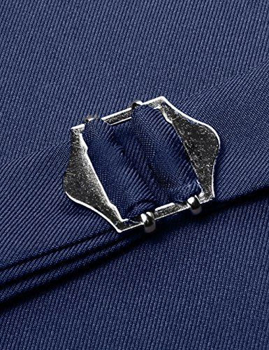 cooshional Herren Weste Anzugweste Geschäftsweste V-Ausschnitt Business Hochzeit Vintage L (EU 38) Marineblau - 6