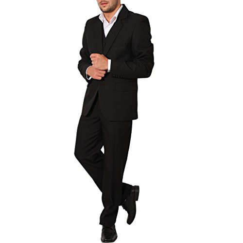 Herren Anzug 3Teiler Slim Sakko Hose Weste Hochzeit Smoking Slimline (48, Schwarz) - 2