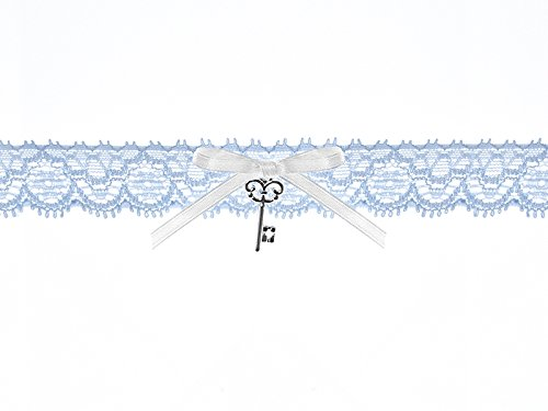 Strumpfband blau mit kleinem Schlüssel zur Hochzeit
